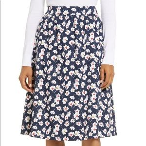 1901 Navy Blue & White Poppy Floral A-Line Skirt